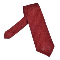 Elegancki czerwony krawat z grenadyny o drobnym splocie bez podszewki