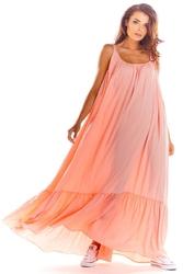 Maxi różowa sukienka na cienkich ramiączkach z falbanką