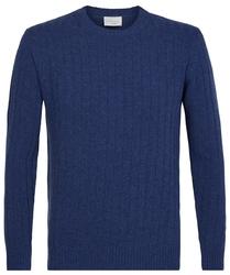 Elegancki niebieski sweter w prążek  s