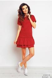 Czerwona Sukienka z Podwójną Falbanką