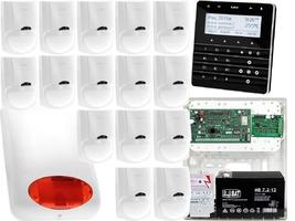 Zestaw alarmowy satel integra 128-wrl manipulator sensoryczny int-ksg-bsb 15x czujka lc-100 sygnalizator zewnetrzny spl-5010 r powiadomienie gsm