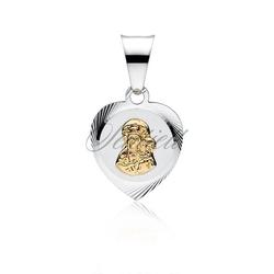 Srebrny medalik serce matka boska częstochowska pozłacana - żółte złoto || rodowanie