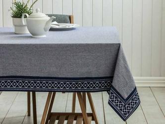 Obrus na stół altom design bawełniany szary  granatowy 160 x 240 cm