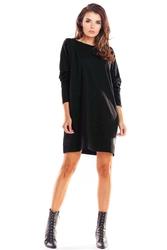 Czarna trapezowa sukienka wizytowa