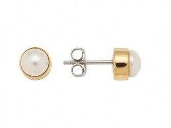 Kolczyki magnetyczne pozłacane 3504-1 ze stali szlachetnej, imitacja perły