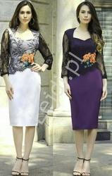 Fioletowa elegancka sukienka z koronkowym czarnym rękawem