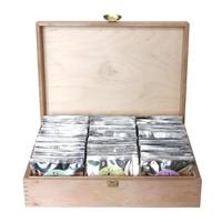 Zestaw herbat w drewnianej skrzynce - solidna zamykana skrzynka marki cupyou z zestawem aż 60 saszetek 60x 5g8g z herbatą sypaną różnego rodzaju i smaku