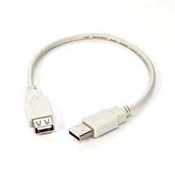 Kabel usb 2.0, usb a  m- usb a f, 0.3m, czarnybiały, logo, blistr