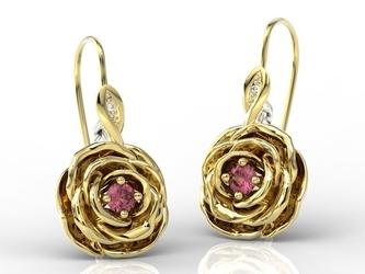 Kolczyki w kształcie róży z żółtego i białego złota z rubinami i diamentami apk-95zb