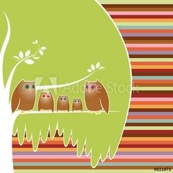 Obraz na płótnie canvas trzyczęściowy tryptyk sowa drzewo genealogiczne