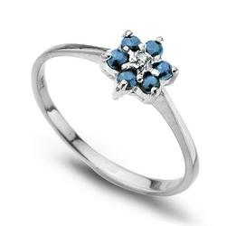 pierścionek białe złoto szafiry i diament