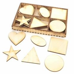 Drewniane ozdoby 30 szt. - kształty geometryczne - kształty