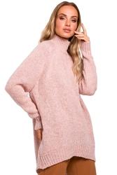Pudrowy luźny sweter z półgolfem