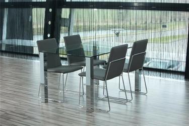 Stół do jadalni kant 140x90 cm szklany blat