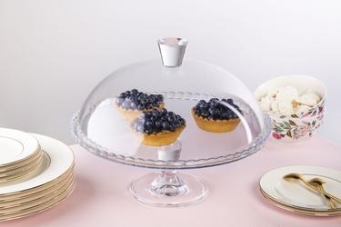 Patera  talerz na ciasto i tort z kloszem na nóżce szklany altom design 32 cm