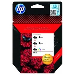 Tusze Oryginalne HP 2x 46 BK + 46 Color F6T40AE trójpak - DARMOWA DOSTAWA w 24h
