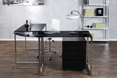 Czarne, szklane biurko big deal
