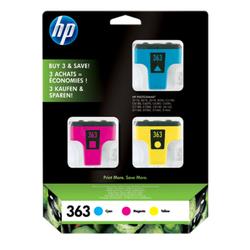HP 363 zestaw 3 oryginalnych wkładów atramentowych: błękitnypurpurowyżółty