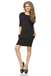 Czarna Sukienka z Kieszeniami z Rękawem 34