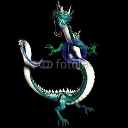 Obraz na płótnie canvas trzyczęściowy tryptyk Magiczny smok azjatycki ze świecącą plazmą niebieską