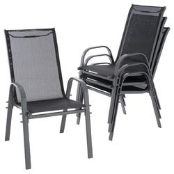 Zestaw 4 krzeseł ogrodowych antracyt 55x72x97 cm