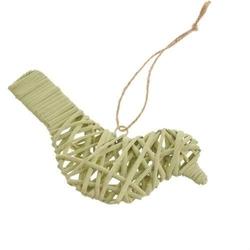 Wiklinowy ptaszek z zawieszką 17 cm - zielony - ZIEL