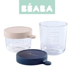 Zestaw słoiczków szklanych z hermertycznym zamknięciem beaba 150 ml +250ml - pink +blue