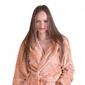 Gruby ciepły szlafrok damski z kapturem camel
