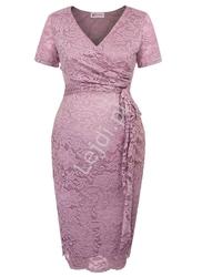 Wrzosowa koronkowa sukienka ciążowa i po ciąży| koronkowa do karmienia 003