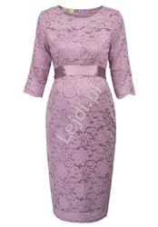 Koronkowa sukienka ciążowa z satynowym paseczkiem, wrzosowa wieczorowa plus size 1026