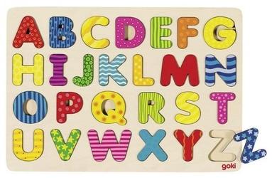 Drewniana układanka kolorowy alfabet literki goki