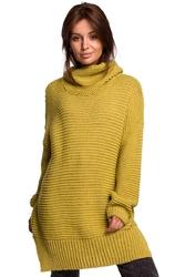 Damski sweter oversize z golfem  - limonkowy