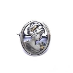 Broszka srebrna - dama kameliowa oksydowana
