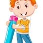 Obraz mały chłopiec z ołówkiem