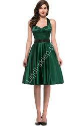Zielona sukienka pin-up wiązana na szyi, lata 60-te,70-te, 8950