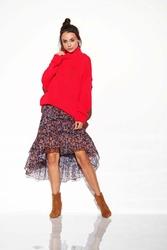 Oversizowy Malinowy Ciepły Sweter z Półgolfem