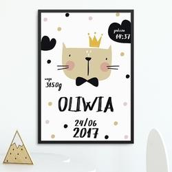 Metryczka dziecięca - kitty princess , wymiary - 60cm x 90cm, kolor ramki - czarny