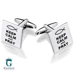 Spinki do mankietów x2 keep calm  pray