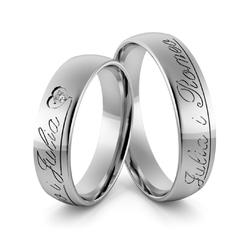 Obrączki ślubne z białego złota niklowego z imionami i brylantem - au-983