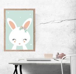 Królik miętowe tło - plakat wymiar do wyboru: 29,7x42 cm
