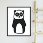 Mr. panda - plakat dla dzieci , wymiary - 20cm x 30cm, kolor ramki - czarny