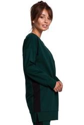 Dłuższa bluza z lampasami - ciemnozielona