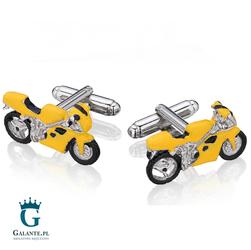 Spinki do mankietów Żółty motor ścigacz UE-18082