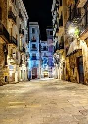 Fototapeta scena nocy w dzielnicy gotyckiej, barcelona, hiszpania