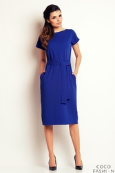 Niebieska Sukienka Midi z Paskiem