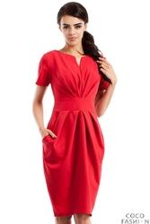 Czerwona Marszczona Sukienka z Kieszeniami