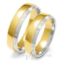 Obrączki ślubne dwukolorowe z imionami złoty skorpion – wzór au-a229