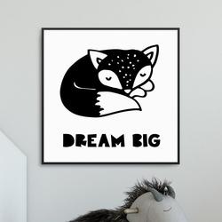 Foxy dream - plakat dla dzieci , wymiary - 50cm x 50cm, kolor ramki - biały