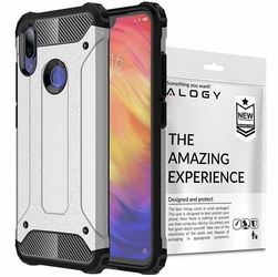 Etui Alogy Hard Armor do Xiaomi Redmi Note 7 Note 7 Pro Srebrne + szkło - Srebrny