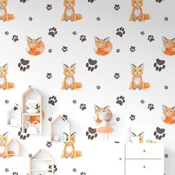 Tapeta dziecięca - foxy stamp , rodzaj - tapeta flizelinowa laminowana